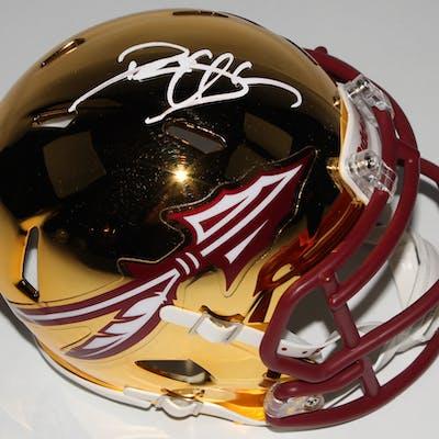 Deion Sanders Signed Florida State Seminoles Chrome Speed Mini Helmet