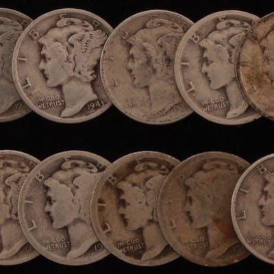 Lot of (15) 1917-1945 Mercury Silver Dimes