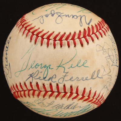 Baseball Hall of Famers OAL Baseball Signed by (21) with Mickey Mantle