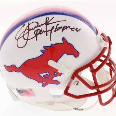 "Eric Dickerson Signed SMU Mustangs Mini Helmet Inscribed ""Pony Express"""