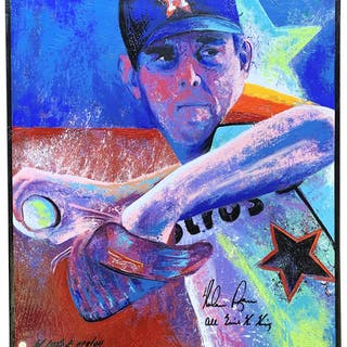 Nolan Ryan Signed LE Houston Astros 32x36 Print On Canvas Inscribed