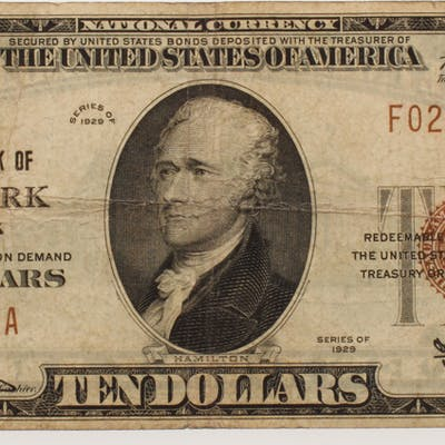 1929 $10 Ten Dollar U.S. National Currency Bank Note with Brown Seal