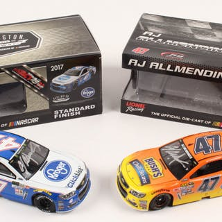 Lot of (2) A. J. Allmendinger Signed LE 1:24 Scale Die Cast Cars with