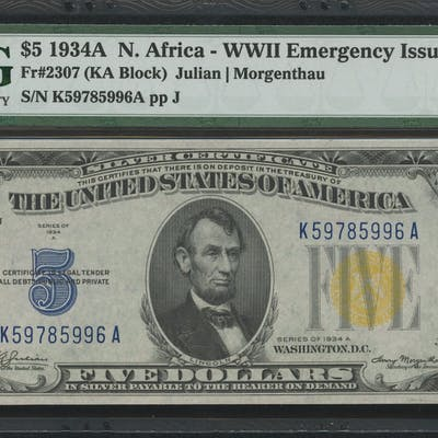 1934-A $5 Five Dollars North Africa Gold Seal Silver Certificate WWII