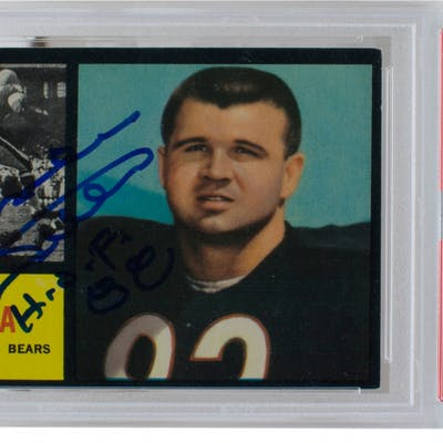 """Mike Ditka Signed 1962 Topps #17 RC Inscribed """"HOF 88"""" (PSA Encapsulated)"""