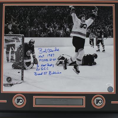 Bob Clarke Signed Philadelphia Flyers 22x27 Custom Framed Photo Display
