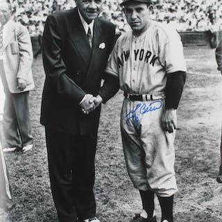Yogi Berra Signed New York Yankees 11x14 Photo with Babe Ruth (PSA COA)