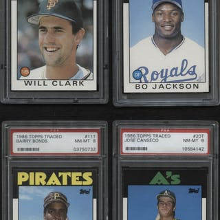 Lot of (4) PSA Graded 8 1986 Topps Traded Baseball Cards with #20T