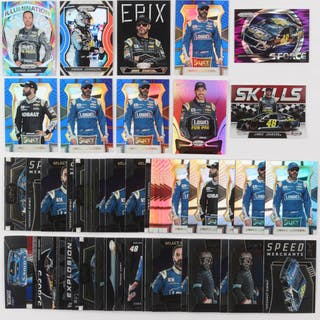 Lot of (56) Jimmie Johnson Racing Insert Cards with 2017 Select Prizms