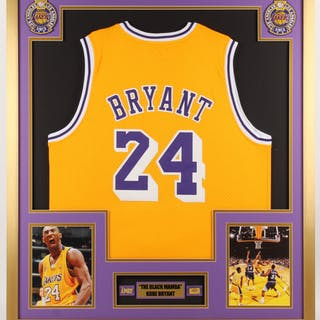 Kobe Bryant Los Angeles Lakers 32x36 Custom Framed Jersey with Championship