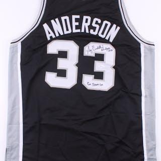 "Greg ""Cadillac"" Anderson Signed Jersey Inscribed ""Go Spurs Go"" (JSA COA)"