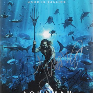 """Aquaman"" 12x18 Poster Cast-Signed by (4) with Jason Momoa, Amber"