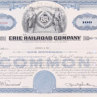"""Vintage 1952 """"Erie Railroad Company"""" (100) Shares Stock Certificate"""
