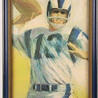 "Dave Boss ""Los Angeles Rams"" 20x26 Custom Framed Painting (PA LOA)"