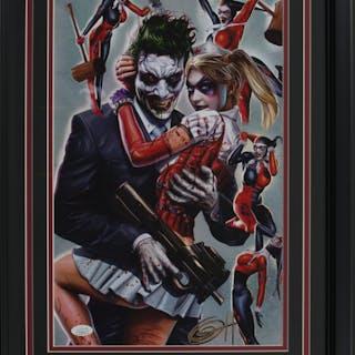 """Greg Horn Signed """"Harley Quinn & Joker"""" 17x25 Custom Framed Lithograph"""