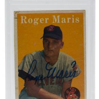 Roger Maris Signed 1958 Topps #47 RC (PSA 2)