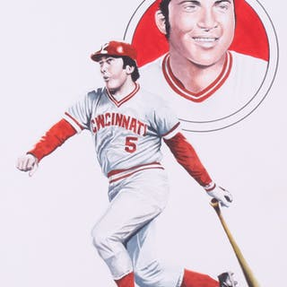 """Chuck Feist Signed """"Johnny Bench"""" 10x15 Watercolor Painting (PA LOA)"""