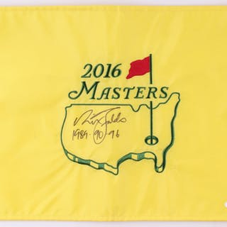 "Nick Faldo Signed Masters Golf Pin Flag Inscribed ""1989, 90, 96"" (JSA COA)"