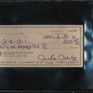 Greta Garbo Signed 1981 Personal Bank Check (BGS Encapsulated)