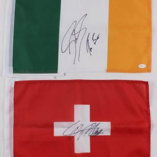 Lot of (2) Mini Flags with Sheamus Signed Ireland Flag & Cesaro Signed