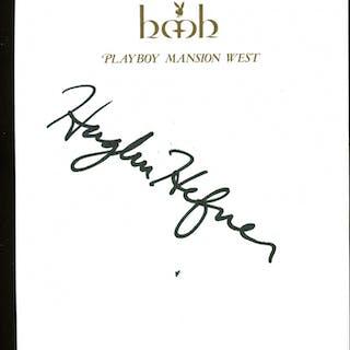 Hugh Hefner Signed 4.25x5.5 Cut (PSA LOA)