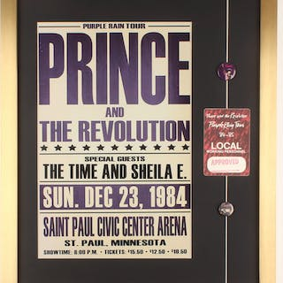 "Prince & the Revolution ""Purple Rain"" 19.5x23 Custom Framed Promotional"