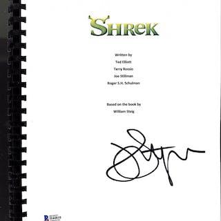 """John Lithgow Signed """"Shrek"""" Movie Script (Beckett COA)"""
