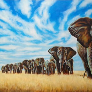 "Hector Monroy ""The Migration of Giants"" 24x47 Oil Painting on Canvas"