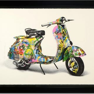 "Mr. Brainwash Signed ""Vespa (Large)"" Limited Edition 45x57 Custom"