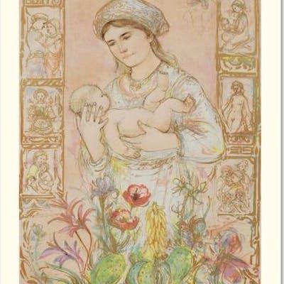 "Edna Hibel Signed ""Raquela"" Limited Edition 26x37 Lithograph"