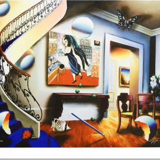 """Ferjo Signed """"Dining with Chaggall"""" Limited Edition 24x30 Giclee on Canvas"""