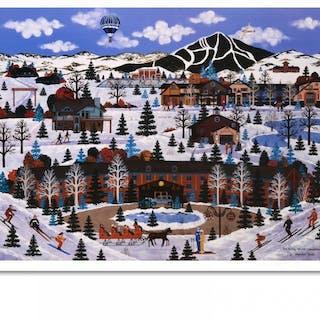 """Jane Wooster Scott Signed """"Sun Valley Winter Wonderland"""" Limited Edition"""