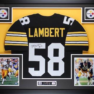 30481bea3e1 Jack Lambert Signed Pittsburgh Steelers 35x43 Custom Framed Jersey –  Current sales – Barnebys.com