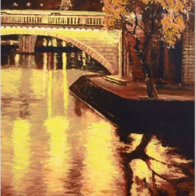 """Howard Behrens Signed """"Twilight on the Seine, I"""" Limited Edition 17"""""""