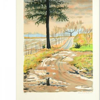 """Clarence Holbrook Carter Signed """"Forest"""" Limited Edition 22x30 Lithograph"""