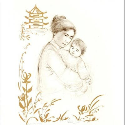 "Edna Hibel Signed ""Lei Jeigiong and her Baby in the Garden of Yun-Tai"""