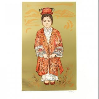"""Edna Hibel Signed """"Sun Ming Tsai of Beijing"""" Limited Edition 20x25 Lithograph"""