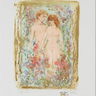 """Edna Hibe Signed """"The First Couple"""" Limited Edition 18x22 Lithograph"""