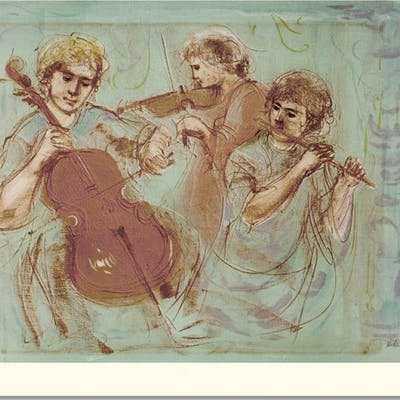"""Edna Hibel Signed """"Trio"""" Limited Edition 24x35 Lithograph"""