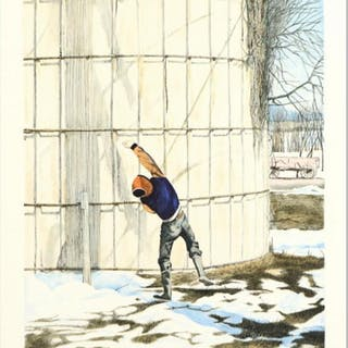 """William Nelson Signed """"The Snowball Thrower"""" Limited Edition 22x28"""