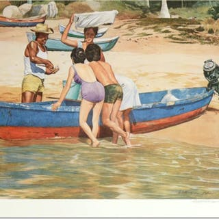 """William Nelson Signed """"Clam Fisherman"""" Limited Edition 22x28 Serigraph (PA LOA)"""