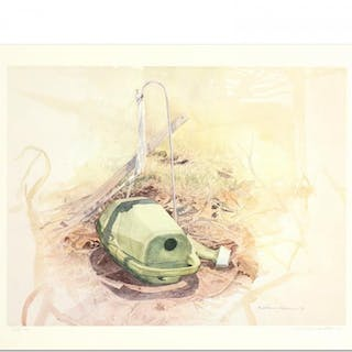 """William Nelson Signed """"Green Watering Can"""" Limited Edition 22x28 Lithograph"""