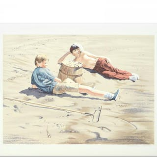 """William Nelson Signed """"The Beach Combers"""" Limited Edition 22x29 Serigraph"""