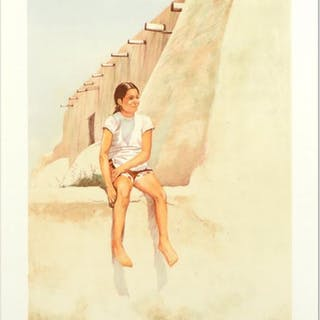 """William Nelson Signed """"Isleta Indian Girl"""" Limited Edition 22x29 Lithograph"""