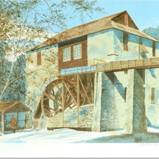"""William Nelson Signed """"The Mill"""" Limited Edition 22x29 Serigraph"""