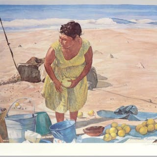 """William Nelson Signed """"Mexican Fruit Vendor"""" Limited Edition 22x28 Serigraph"""