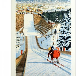 """William Nelson Signed """"90-Meter Ski Jump"""" Limited Edition 22x29 Serigraph"""