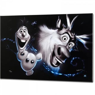 """Noah Signed """"Olaf & Sven"""" Disney Limited Edition 16x24 Giclee on Canvas"""