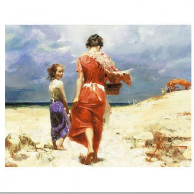 """Pino Signed """"Summer Retreat"""" LE Artist-Embellished 12x16 Giclee on Canvas"""
