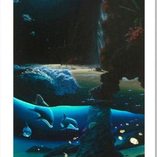 """Wyland Signed """"Island Paradise"""" Limited Edition 20x40 Giclee on Canvas"""